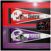 Nebraska Cornhuskers & Kansas State Wildcats - House Divided - Pennants and License Plate
