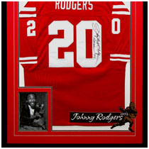 Johnny Rodgers - 1972 Heisman Trophy Winner - Nebraska Cornhuskers - Photo & Autographed Football Jersey